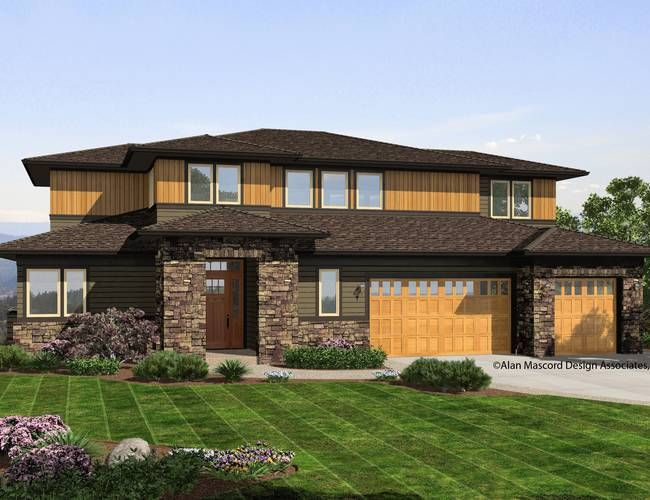 Pin By Rebecca Allison On Home Sloping Lot House Plan Modern Contemporary House Plans Prairie Style Houses