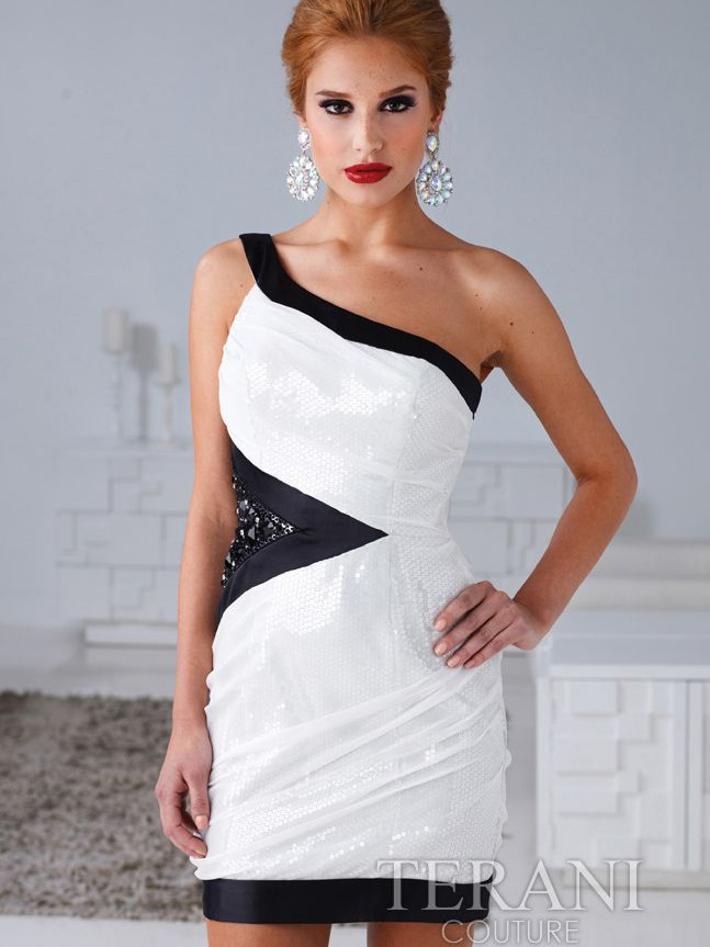 One Shoulder Ivory and Black Cocktail Dress By Terani. Style ...