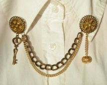 Steampunk Golden Gear Collar Cardigan Clips