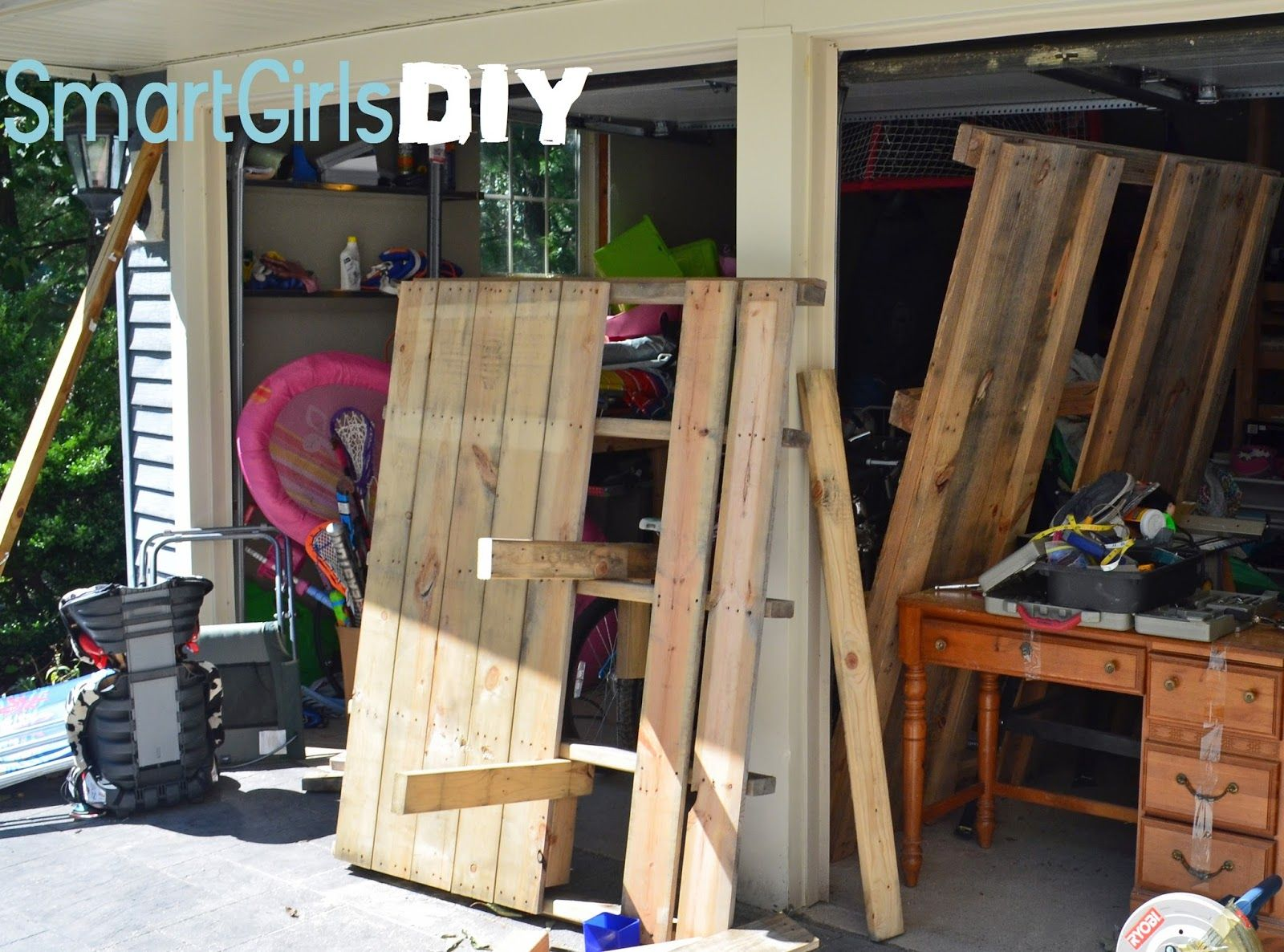 Bike And Beach Chair Storage Using Pallets To Make Cheap Diy Shelf In Garage