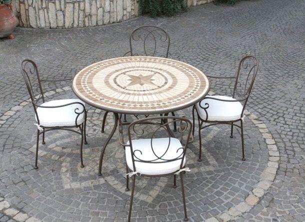 Tavoli Da Esterno Brico.Offerta Tavolo Mosaico Tondo Marmo Stone E Ferro Battuto