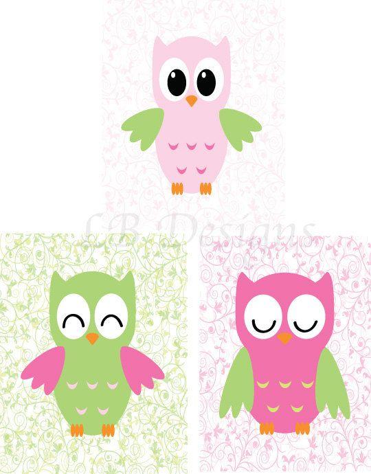 Pink and Green Owl Nursery Print  8x10 on Etsy, $24.00 Girl's woodland nursery, girl's nursery decor, girl's owl nursery