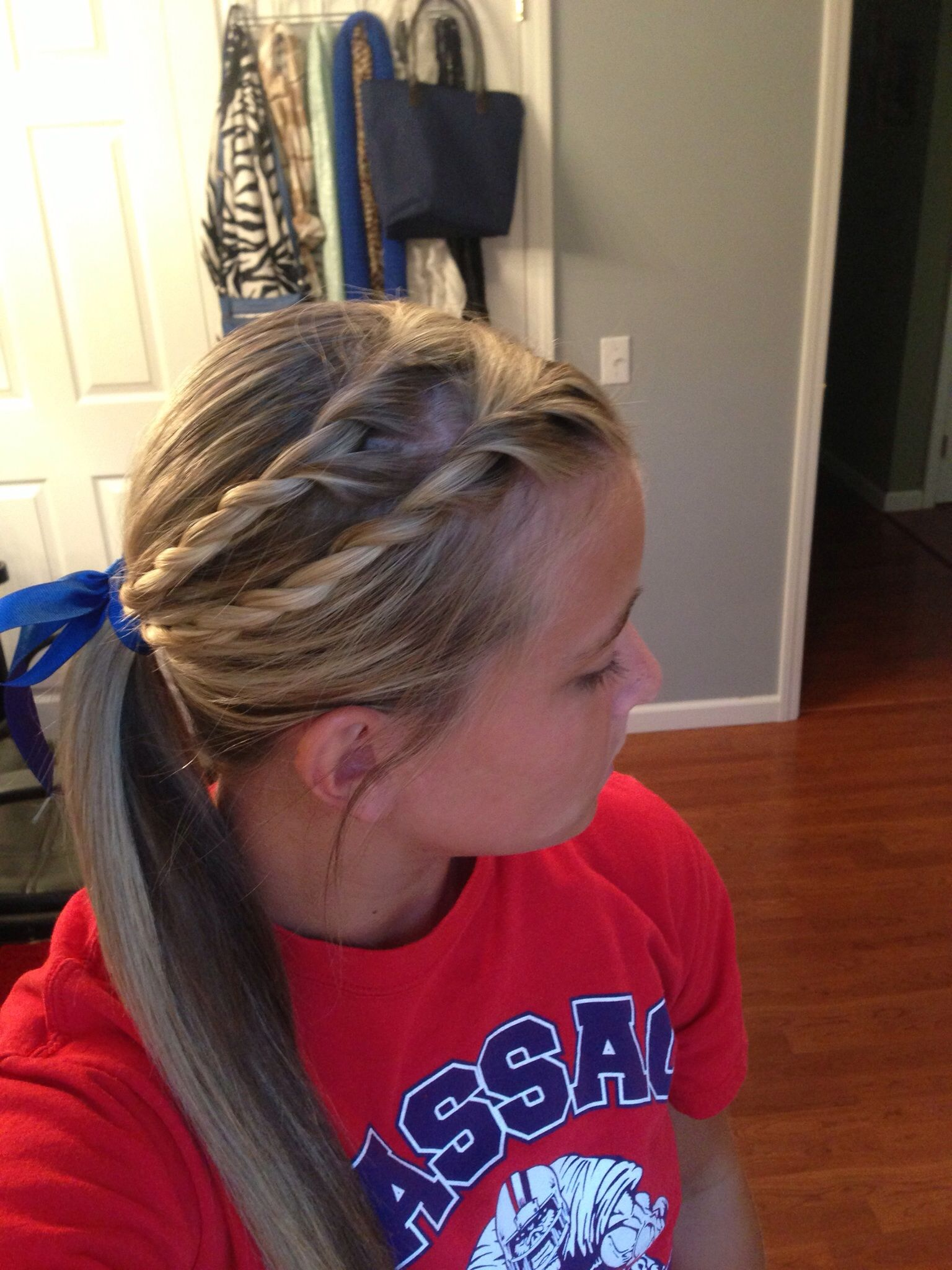 Softball hair gymnastics hair pinterest softball hairstyles