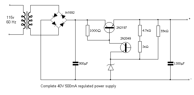 40v 500ma Regulated Power Supply Power Supply Power Electricity