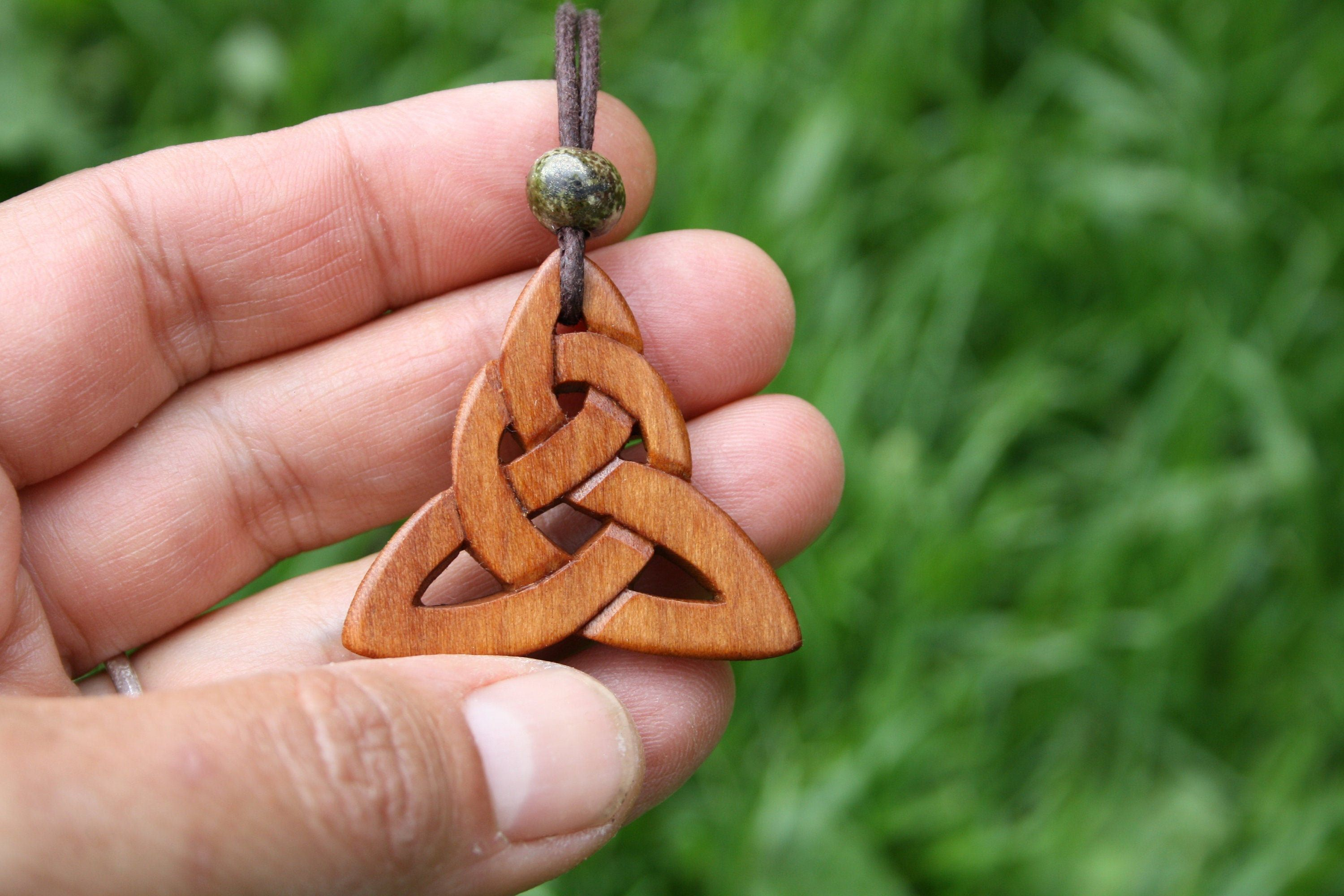 Irish Cherry Wood Triquetra Necklace, Large Infinity Knot