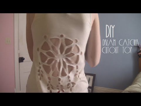Do It Yourself Dream Catcher DIY Dream Catcher Cutout Top Fun with clothes DIY refashion 35