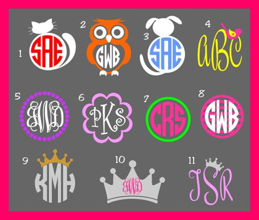 Picture Monogram Decal By Ahopskipandastitch On Etsy 14 00