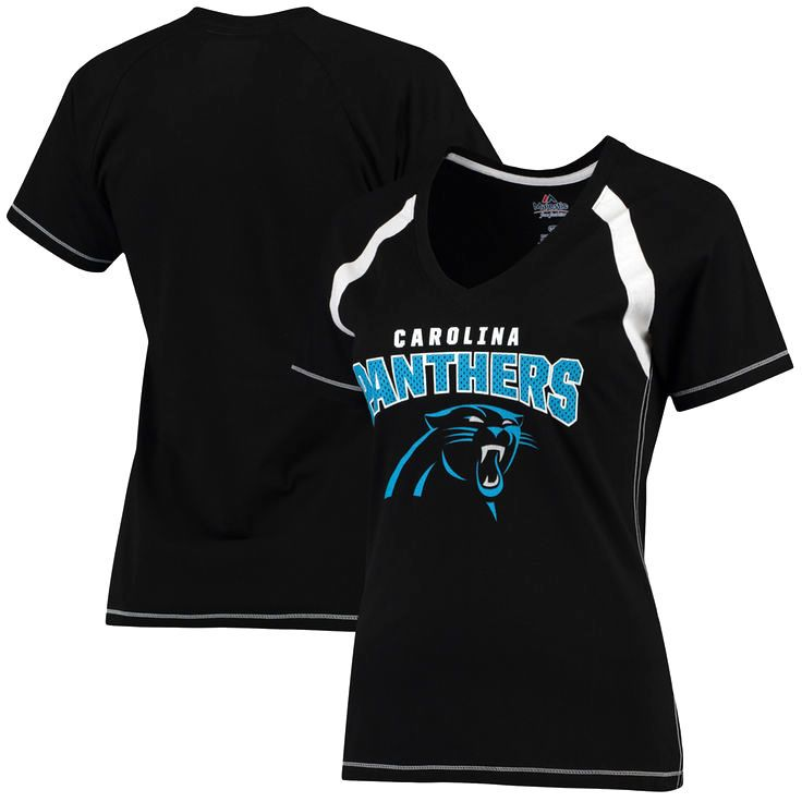 Carolina Panthers Majestic Women s Plus Size Game Day V-Neck T-Shirt - Black 64baa8c08