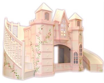 Castle Theme Bed W Slide Traditional Kids Houston Sweet