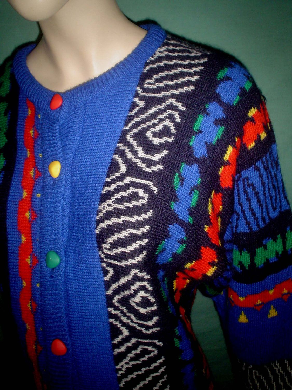 SALE - vintage pure wool 80s rainbow tribal batwing cardigan XS S. £8.50, via Etsy.