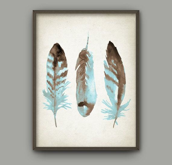 Watercolor Feathers Wall Art Print 3 Modern Home Decor Tribal Native American Feather Gicl Feather Wall Art Native American Decor Native American Wall Art