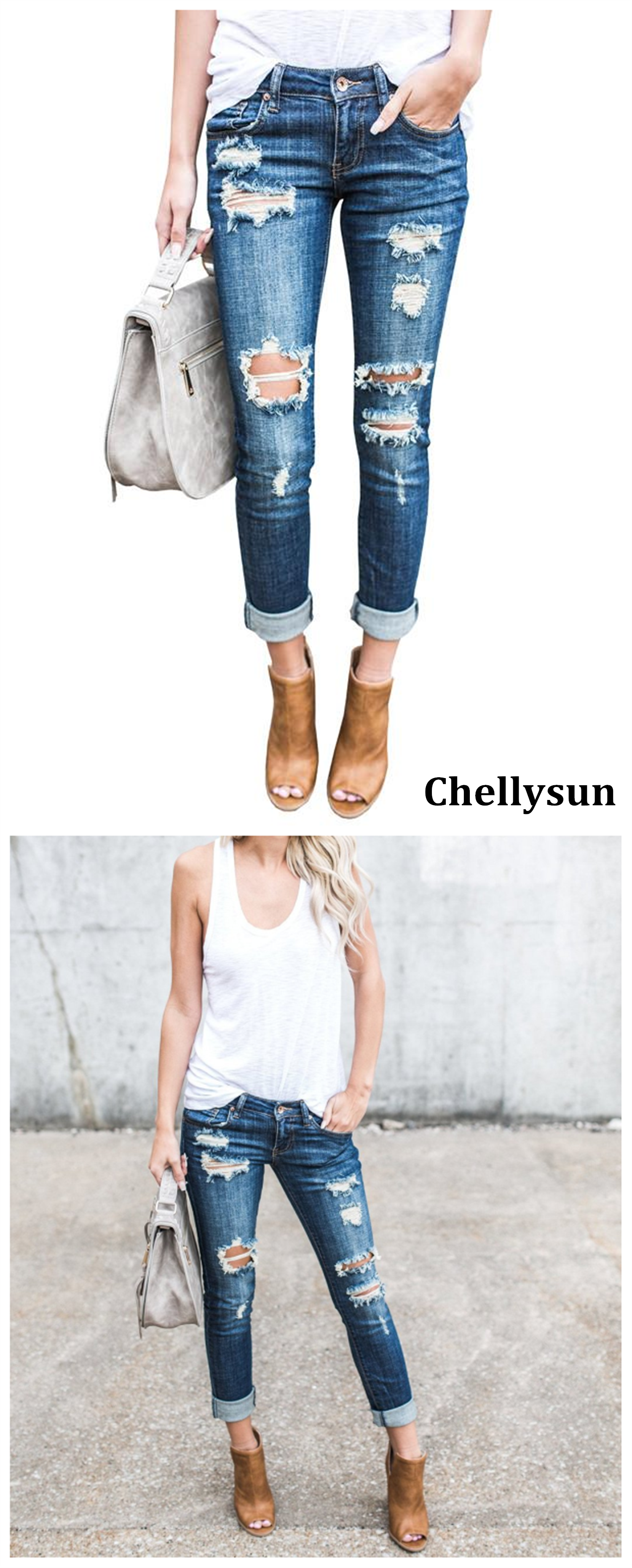 b803deaf06 Best ripped skinny jeans DIY boyfriend recycle bootcut jeans for curves women  high waist upcycling denim mom flare jeans Chellysun Hole Jeans #jeans # denim ...
