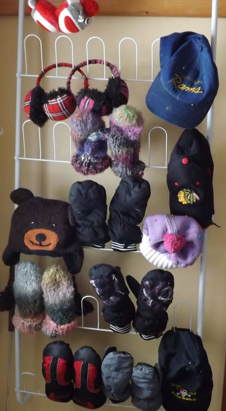 Instead of shoes use a shoe rack as a mitten and glove