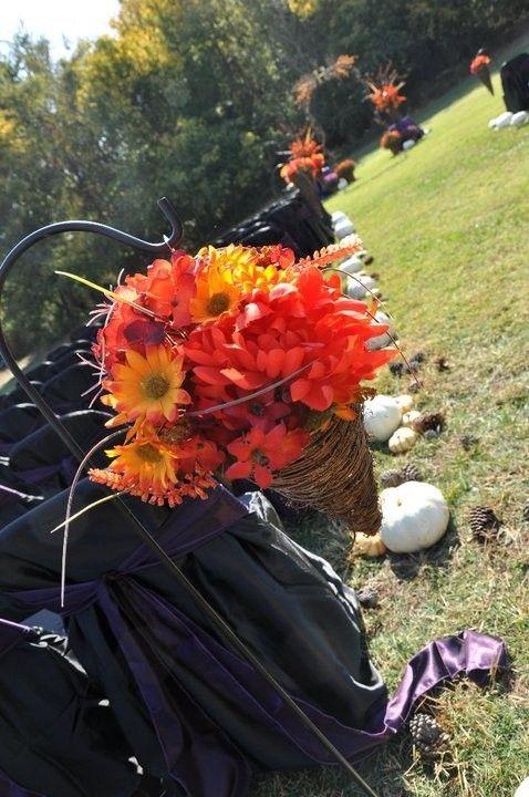 Flower Wedding Chair Decor Fall Inspiration Pumpkins Aisle Dreamyweddingideas