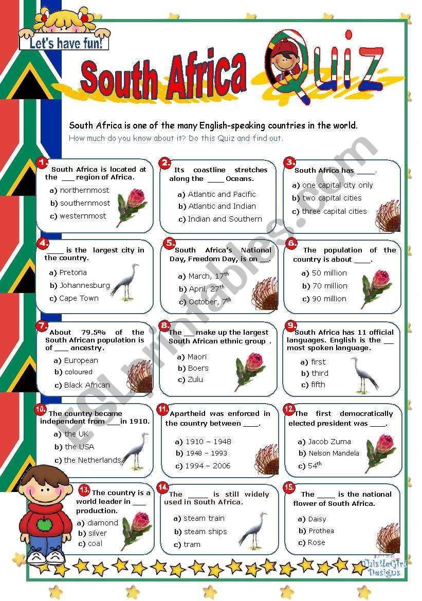 South Africa Quiz Worksheet Africa Quiz Africa Activities For Kids World Thinking Day