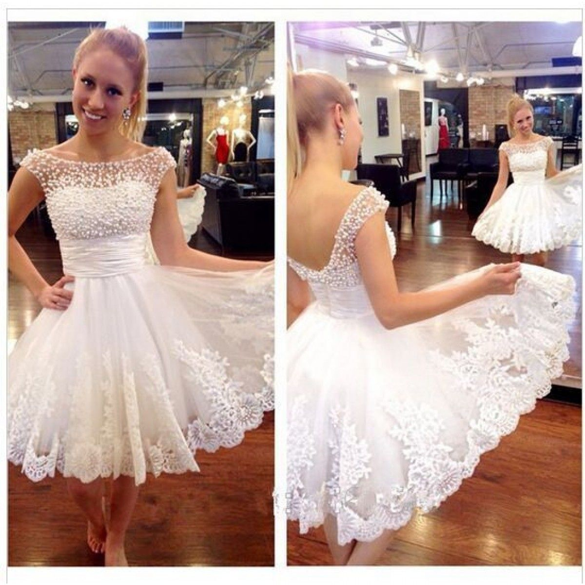 White prom dressbeaded prom dressfashion homecoming dresssexy
