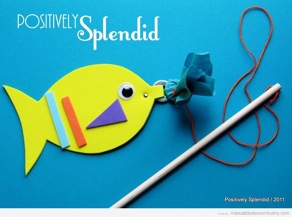 Juego de la pesca, manualidad de goma eva para niños | Manualidades ...
