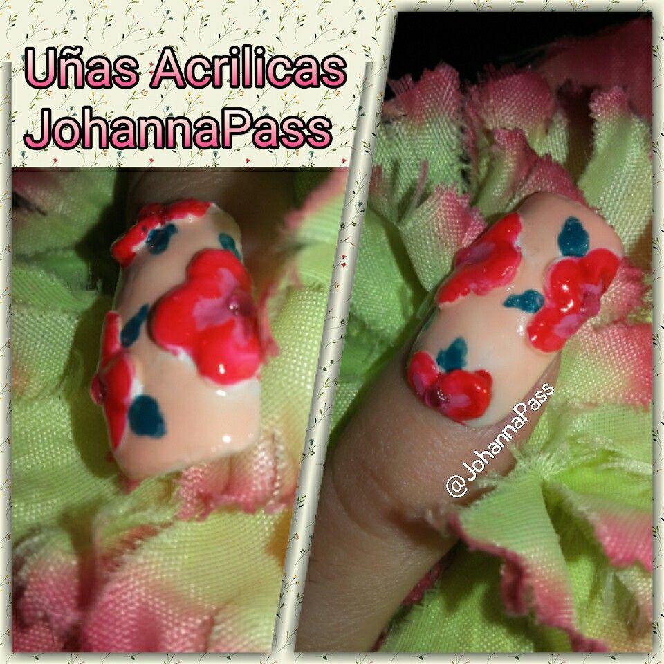 Uñas Acrilicas con diseño florar y piedras decorativas. #nails #nail ...