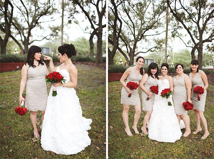 modern downtown tampa ybor classic wedding fun bridesmaid poses, sisters