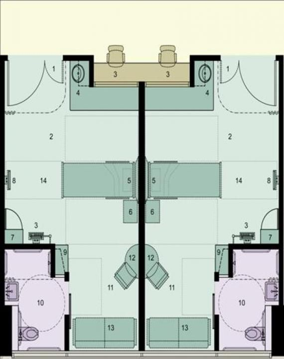 A Floor Plan Of The Acuity Adaptable Single Bed Rooms