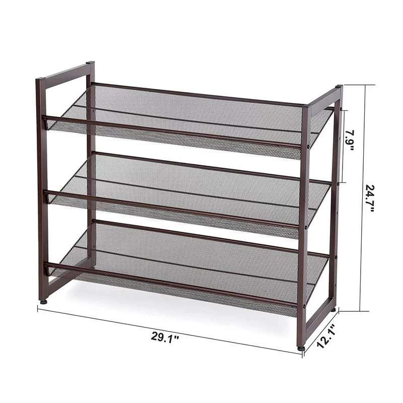 3 Tier Metal Flat And Slant Adjustable 12 Pair Stackable Shoe Rack