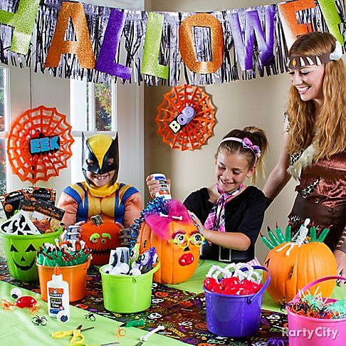 Give the kids kooky favors and glue to create their own no for How to have a great halloween party
