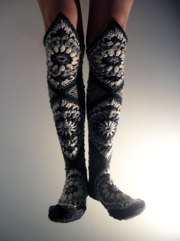 granny square knee high stockings... amazing! no pattern, but enough photos that I think you could figure it out (finnish blog)