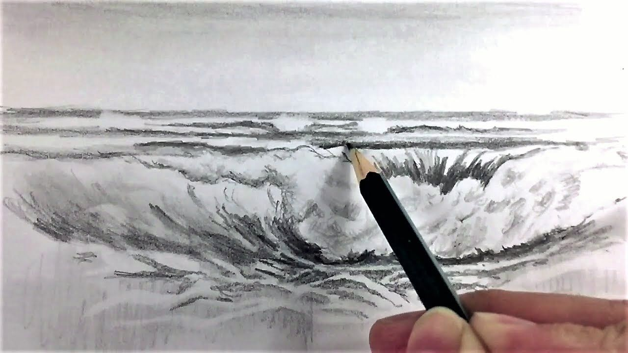 Drawing waves in pencil how to draw sea waves with pencil drawing techniques youtube photo