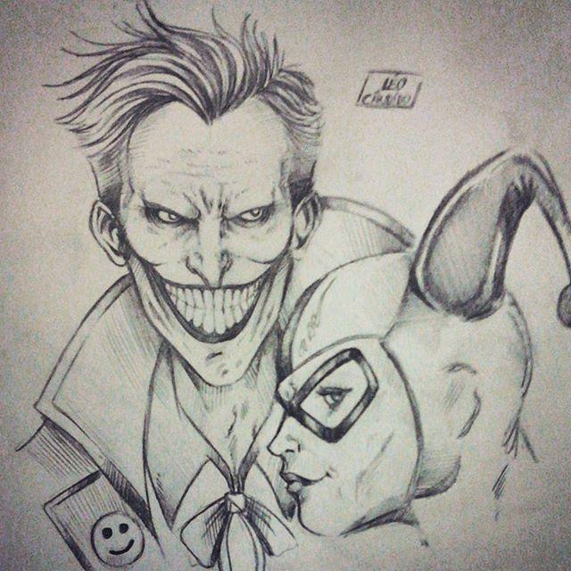 harley quinn and joker drawing