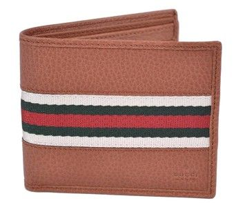6fbdf00f716 NEW GUCCI Men s Pebbled Tan Leather Red Green Web Stripe Bifold Wallet. Get  the lowest