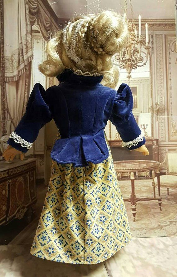 18 inch historical doll clothes Regency Blue & Gold will fit American Girl® 1800's Regency era spencer jacket OOAK C2 #historicaldollclothes