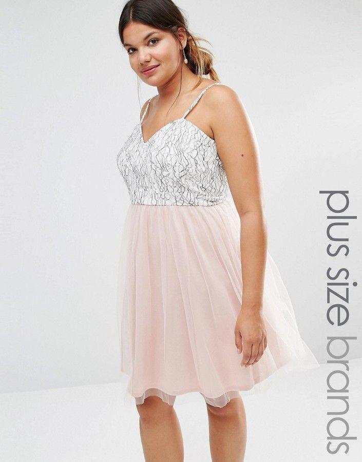 b9ea0498b6f98 Boohoo Plus Lace   Tulle Prom Dress
