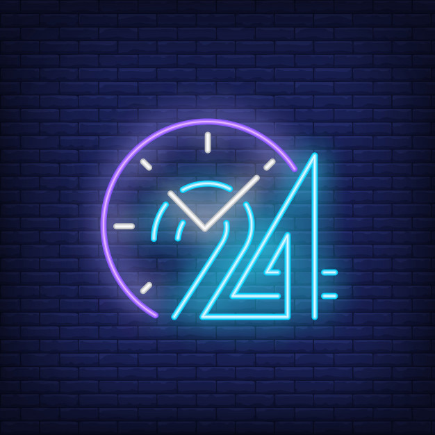 Download Clock And Twenty Four Hours Neon Sign for free