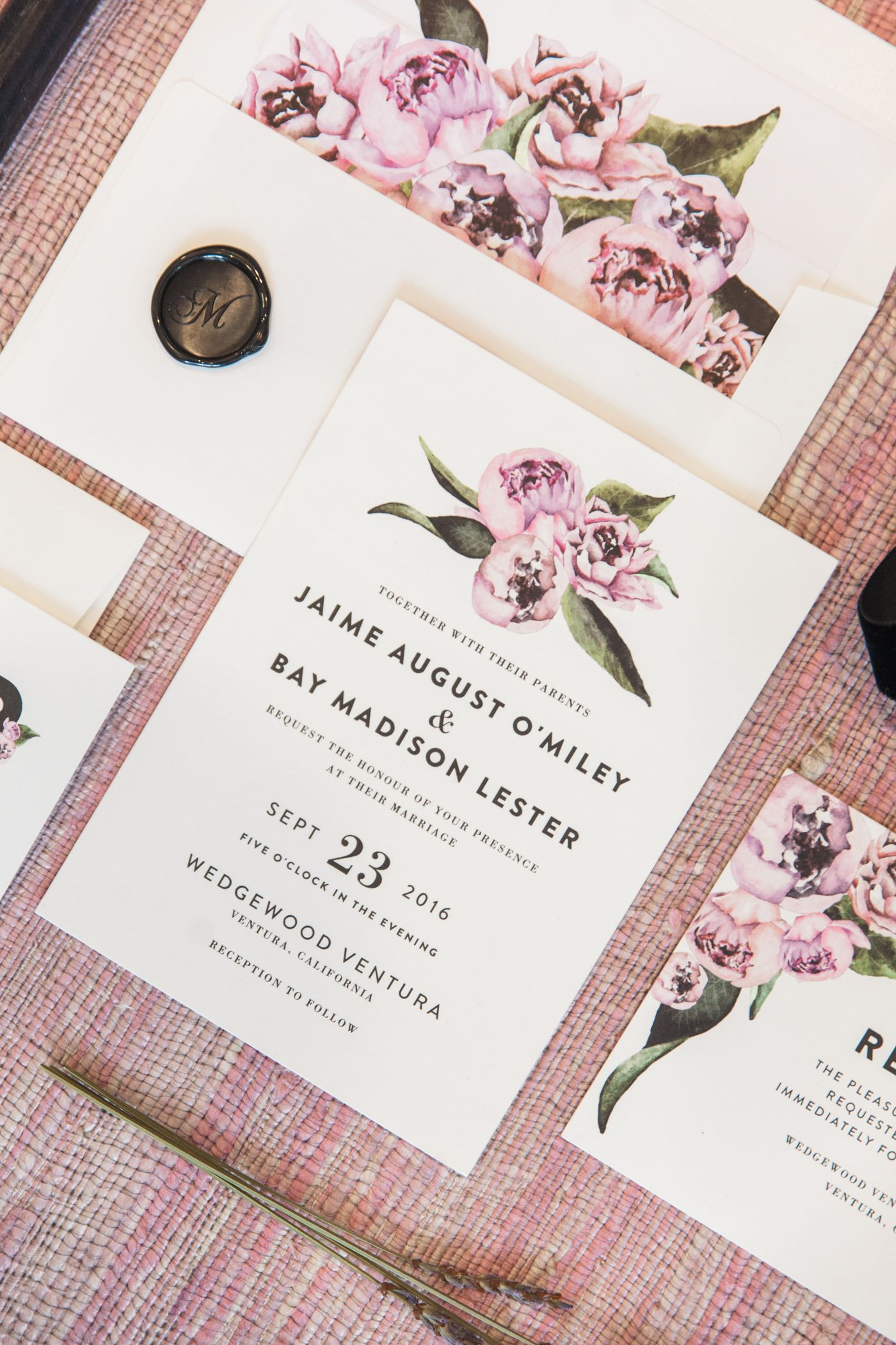 Floral abounds with peony themed wedding invitation by minted artist