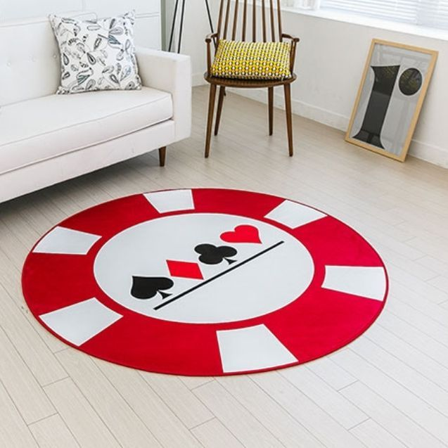 Game Area Rugs: Round Poker Game Rug Player's Room Card Decor Casino Floor