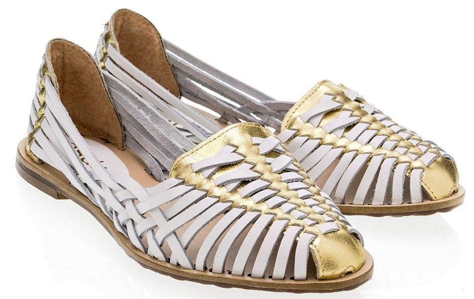 7f0da30b3 Taquilla - Sapatilha huarache Esdra branca e dourada - Loja online de sapatos  femininos
