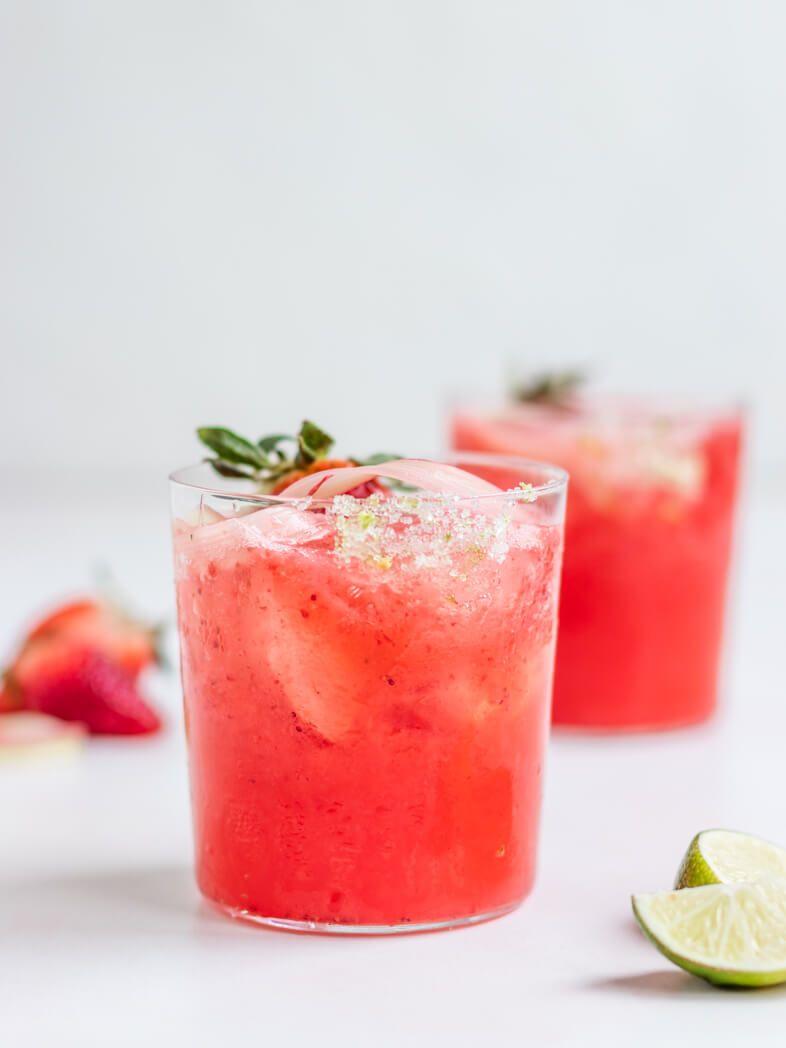 Frozen Strawberry Rhubarb Margaritas