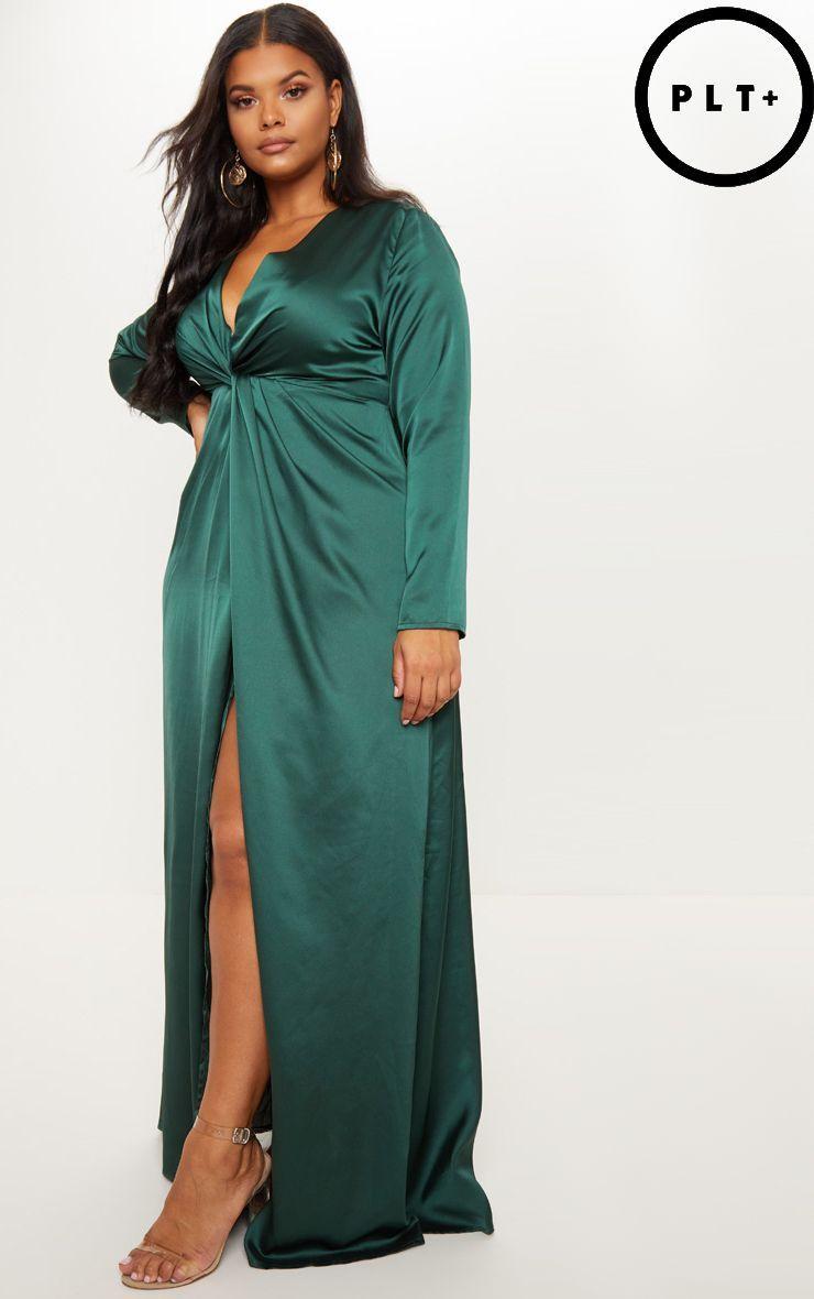 46f7ca7db66 Plus Emerald Green Twist Front Maxi Dress in 2019