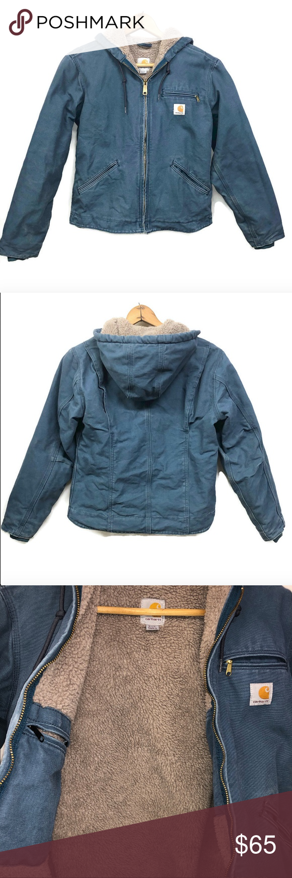 CARHARTT Women's Sz Small Blue Duck Canvas Sherpa CARHARTT Women's Sz Small Blue Duck Canvas Sherpa Fleece Lined Hooded Jacket  Very good condition.  Size tag small, measures 21 inches across the chest and 25 inches overall length. Features:  Hood, 2 inside pockets, 3 outside pockets, ribbed cuffs.  Please see all photos.  We are a smoke free, pet friendly home.  Have a great day! Carhartt Jackets & Coats #carharttwomen