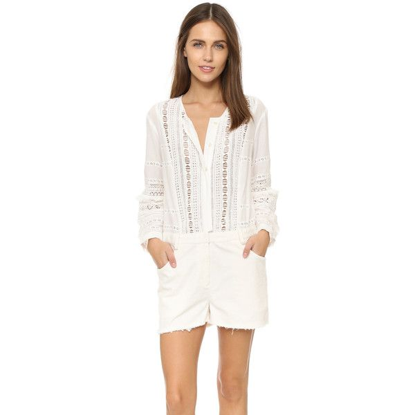 Sea Striped Lace & Cord Romper (18,575 PHP) ❤ liked on Polyvore featuring jumpsuits, rompers, white, sea, new york, white rompers, white romper, white lace rompers and striped romper