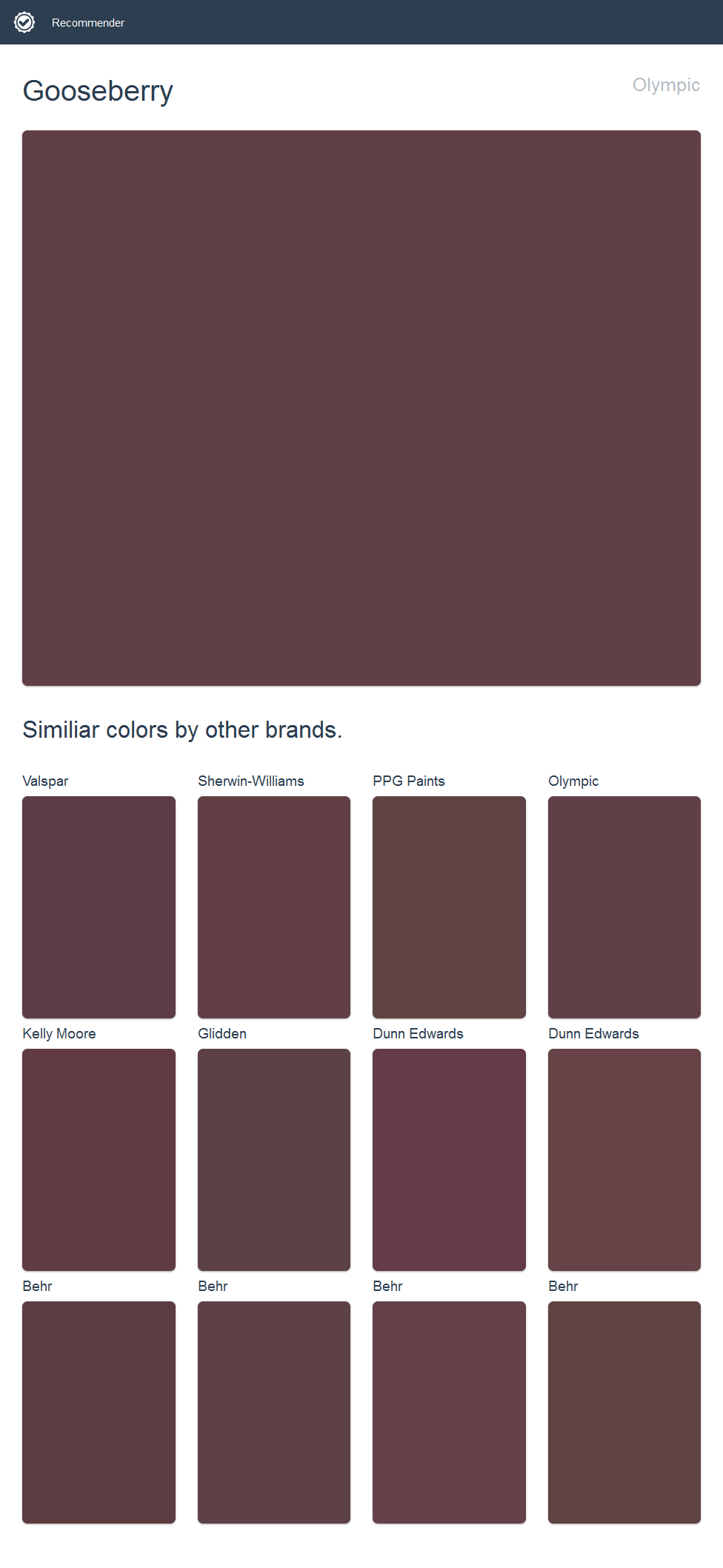 Click The Image To See Similiar Colors By Other Brands.