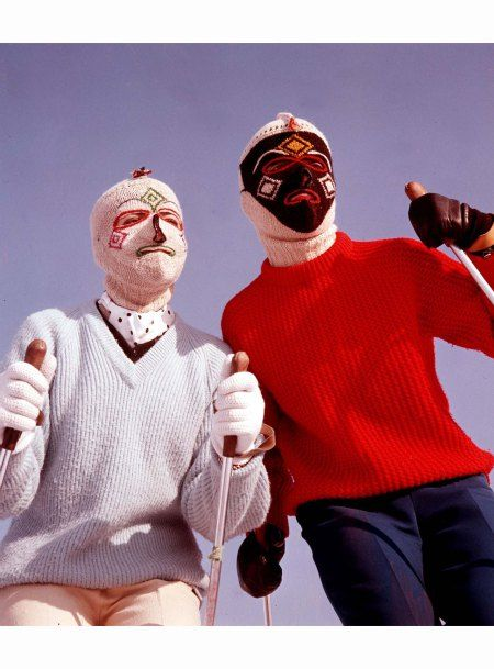 Face off … 1960 Two skiers put their best balaclavas on Popper photo