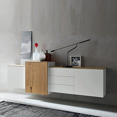 Contemporary Design Long Wall Mounted Sideboard White By