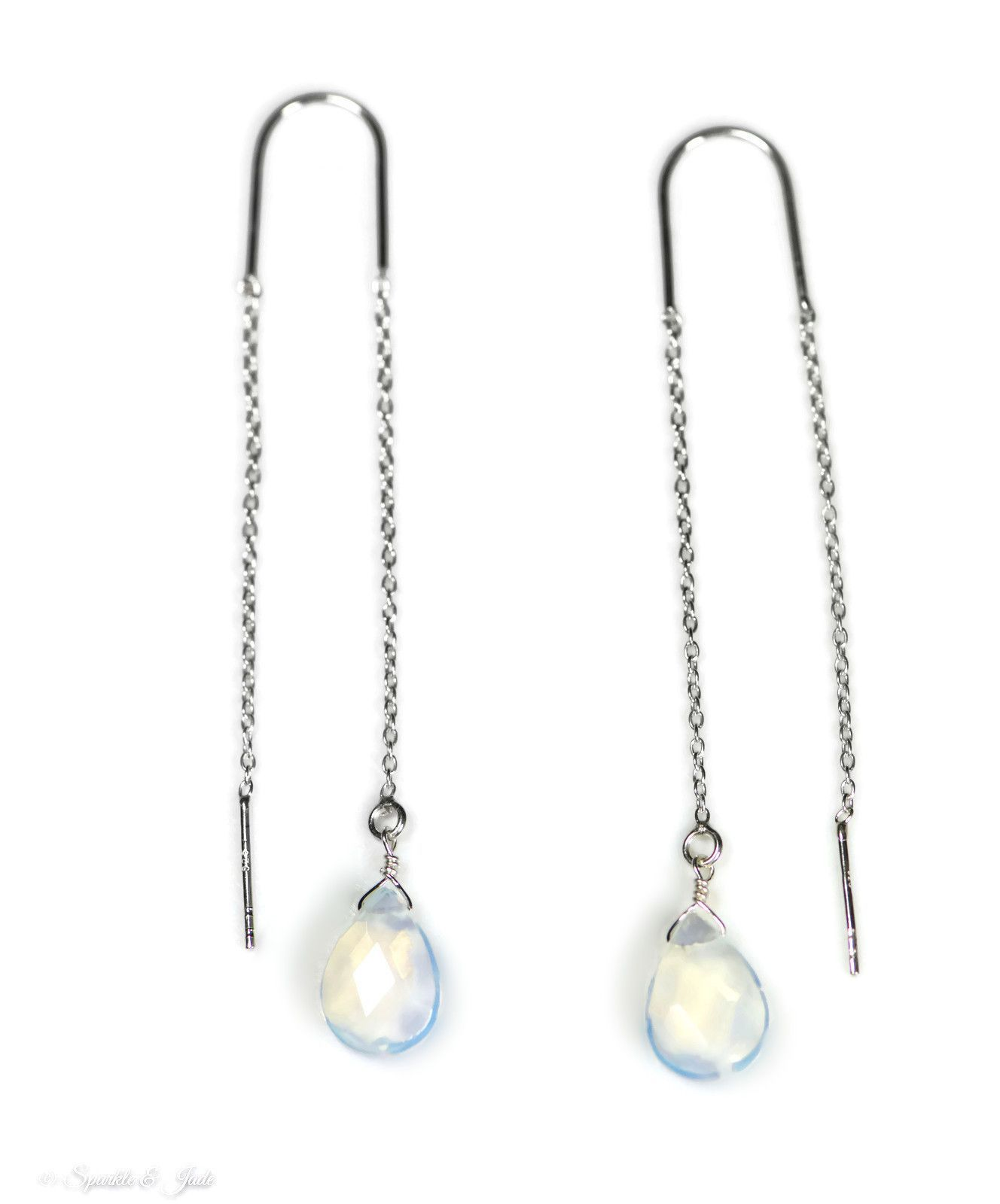 Faceted Pearl SilverThreader Earrings