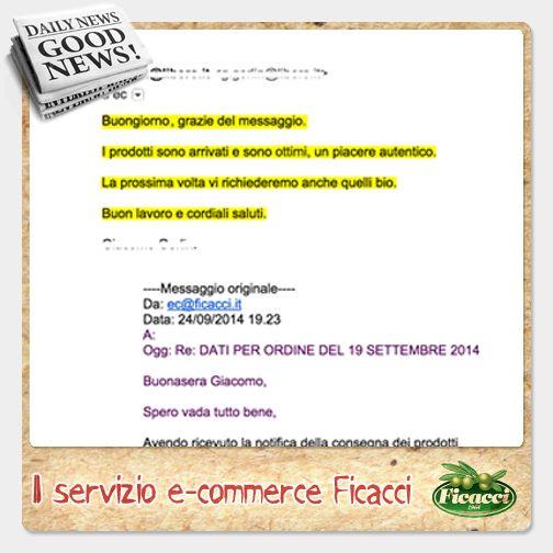 """Un altro successo per il servizio E-commerce Ficacci. Giacomo ha risposto cosi al messaggio dell'operatore: """"I prodotti sono arrivati e sono ottimi, un piacere autentico.La prossima volta vi richiederemo anche quelli bio."""" Visita www.OlivesMarket.com il negozio di olive Ficacci e di Olio Romeo. Il nostro E-commerce ti offre un servizio personalizzato, scoprilo on-line rimarrai soddisfatto anche tu!"""
