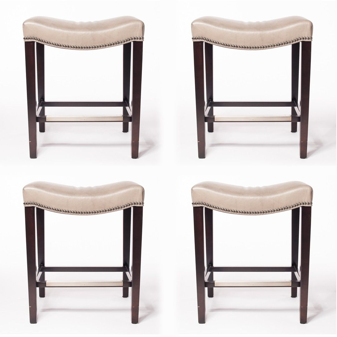 set of four hickory chair madigan backless counter stools at