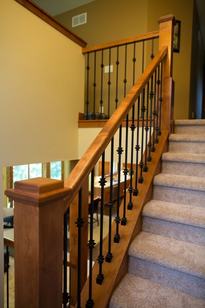 Best Wrought Iron Spindles And Alder Railing In A Custom Two 400 x 300