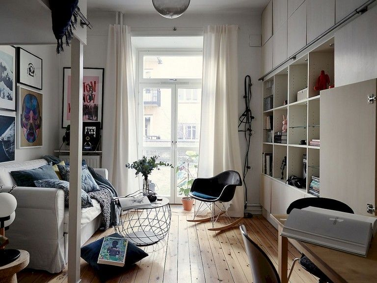 55 Awesome Studio Apartment With Scandinavian Style Ideas On A Budget Apar Living Room Decor Apartment Apartment Decorating Living Apartment Decorating Black