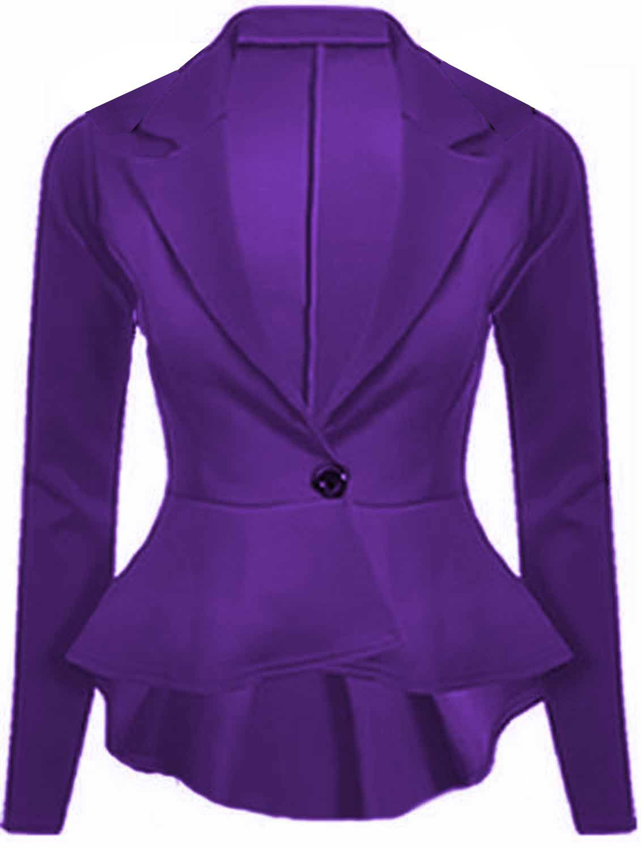 Purple Women's Crop Slim Fit Peplum Blazer Jacket by Gorgeous Mode