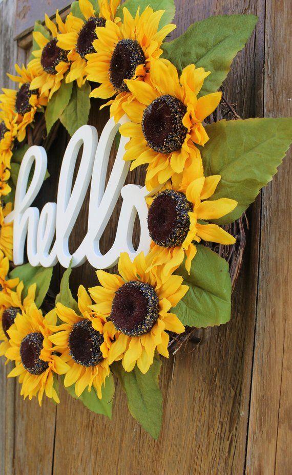 Photo of Sunflower Wreath, Summer Wreath, Summer Wreath, Hello Wreath, Sunflower Decor, Front Door Wreath, Hello Sign, Fall Wreath, Autumn Wreath